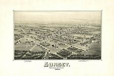1890 Sunset Texas Map - Montague County - 16x24