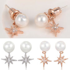 Pearl stud earrings crystal silver 925 earings korean jewelry earring backs