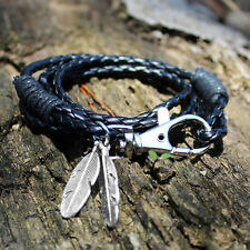 Mens Faux Leather Feather Wristband Infinity Bracelet Silver Plated Bangle