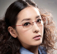 Fashion Pure Titanium Eyeglass Frame Rimless Spectacles Glasses white temples