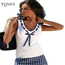 Fashion Vintage Summer T Shirt Women Clothing Tops Sleeveless V-Neck With Bow T-