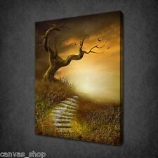 AUTUMN LANDSCAPE STAIRS SUN MODERN WALL ART CANVAS PRINT PICTURE READY TO HANG
