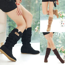 Fashion Womens Winter Warm Mid-Calf Boots Lace Hollow Decor Casual Motor Shoes
