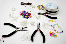 1000 Piece Deluxe Jewellery Making Starter Kit With Beads, Pliers, Cord, Silver