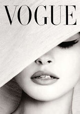 Vogue Cover White Hat Photography Print Poster Canvas Scandi Black White (pcint)