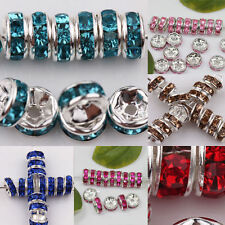 DIY 50/100X Czech Glass Crystal Silver Plated Loose Spacer Beads 8mm Popular Hot
