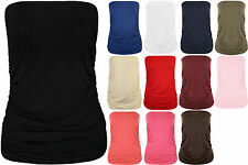 Women Plain Bandeau New Strapless Ruched Ladies Boob Tube Top Shirt Plus Size