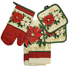 Holiday Kitchen Dish Towel,Pot Holder & Oven Mitt Set by Cotton Valley