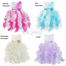 Girls Flower Bow Dress Multi-layers Wedding Pageant Kids Clothes Size 2-10 Xmas