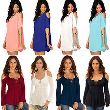 Oversized Women Off Shoulder Lace Up Neck T-Shirt Top Blouse Mini Dress Pullover