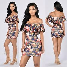 Hot Sexy Women Bandage Bodycon Floral Evening Party Cocktail Clubwear Mini Dress