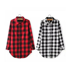 Shirt Checks New Casual Long Sleeve Long Blouse 1pcs Hot Lapel Tops Women Plaid