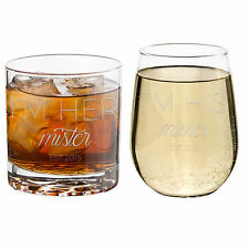 NEW! SET OF HIS & HERS Etched Libbey Glasses!  Etched Wine Glass & Rocks Glass