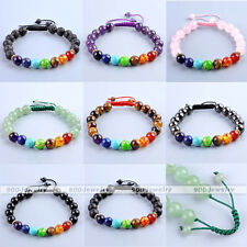 Unisex 7 Chakra Crystal Gemstone Beads Cuff Bangle Braided Adjustable Bracelet