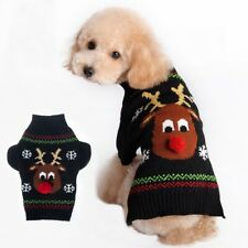 Pet Dog Puppy Reindeer Print Sweater Pullover Clothes Coat Apparel Black