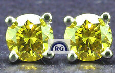 1.60 CARAT Round VVS Natural CANARY YELLOW DIAMOND EARRINGS STUDS 18K / 14K GOLD