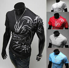 Men Casual Fashion Luxury Slim Fit Short Sleeve Shirts New Mens T-Shirt