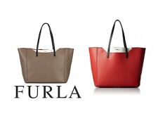 Furla Fantasia Pebbled Leather Tote Handbag in Carminio Red or Daino Taupe $348