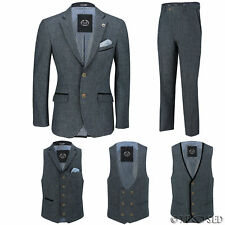 Mens Blue Wool Mix Tweed 3 Piece Suit Sold Separately Blazer Trouser Waistcoat