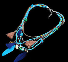 Feather Necklaces Chain Statement Beads Gifts Pendants Collares Jewelry Women