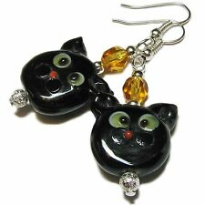 Halloween Black Cat Lampwork Glass Bead Earrings By SoniaMcD