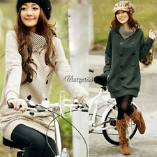 Fashion New Korea Jacket Womens Fashion Grid Knitting Top Long Coat Top UTAR