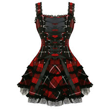 Hell Bunny Harley Red Tartan Plaid Punk Alternative Hogmanay Party Mini Dress