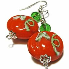 Lovely Halloween Lampwork Glass Pumpkin Bead Earrings