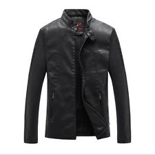 Mens Trendy PU Leather Slimstand collar Motorcycle Jackets Coat Outwear Black
