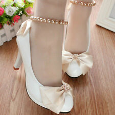 Champagne Bow Ankle Beading White Wedding Shoes Flats Low High Bridal Shoes