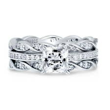 Silver Princess Cubic Zirconia CZ Solitaire Woven Engagement Ring Set 1.66 CT