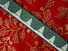 Fir Tree Grosgrain Ribbon 9mm Green White Christmas Snow Xmas Wrapping Wrap 10m