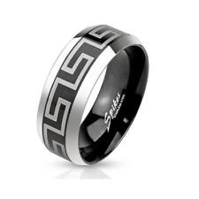 Ring stainless steel silver black 6/8mm wide Laser Engraving Maze 47 15 69 22