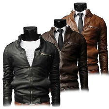 Mens Slim Fitted PU Leather Biker Overcoat Jacket Motorcycle Coat Outwear