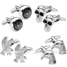 Stainless Steel Round Compass Skull Flying Eagle Enamel Cufflinks Men's Jewelry