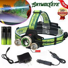 ZOOM 15000Lm Headlamp CREE XM-L 3 x T6 LED Headlight + Charger + 18650 Battery