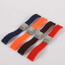 Waterproof Silicone Rubber Wrist Watch Strap Band with Deployment Clasp 16-24mm