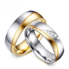 Fashion Stainless Steel Men/Women Couple 18K Gold Plated CZ Ring Band Wedding
