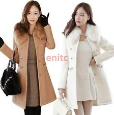Womens Wool Blend Fur Collar Slim Double-breasted Parka Coat Trench Jacket C887