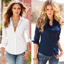 Cotton Fit Casual Shirt Blouse Top Fashion Blouse Slim Long Womens Sleeve