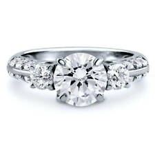 BERRICLE Sterling Silver Round Cut CZ 3-Stone Engagement Ring 2.9 Carat