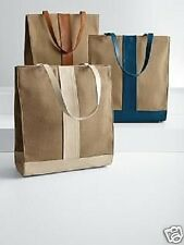 Canvas & Leather Tote Bag Camel Ivory or Blue Leather Trim Red Envelope New $129