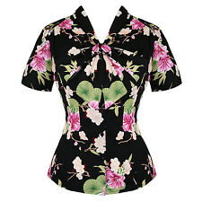 Hell Bunny Freya Black Pink Floral Retro 1950s Vintage Chiffon Blouse Top UK