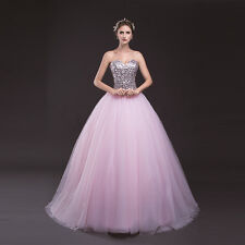 Fashion Pink BallGown Quinceanera Dresses Sequin Prom Formal Gown Stock Size2-16