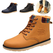 New Mens Fur Lined High-top Flat Ankle Boots Winter Warm Lace Up Shoes Sneakers
