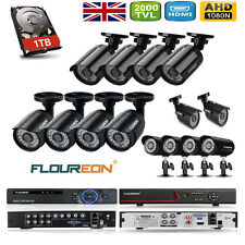 1TB 2000TVL CCTV Camera 4/8 Channel AHD DVR Outdoor Security Complete System Kit