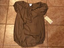 NWT Oh Baby Motherhood Maternity Brown Short Sleeved Peasant Top Ruffle S M L