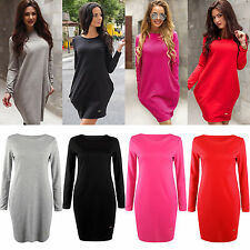 Womens Long Sleeve Shirt Tunic Dress Casual Blouse Tops Bodycon Jumper Dress