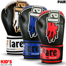 Flaresports Boxing Gloves Juniors Training Mitts Kids Punch Bag Sparring MMA