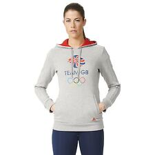 adidas Womens Ladies Team GB Big Logo Hoodie Hoody Hooded Top - Grey/Vivid Red
